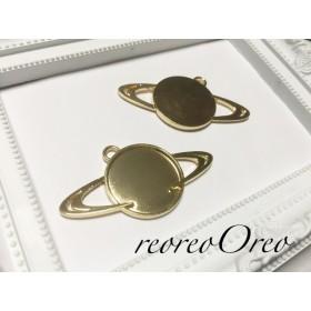 土星型レジン枠 2個 ゴールド