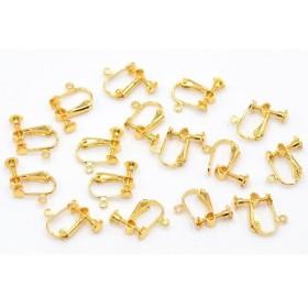 M2543 20個 イヤリング金具 ネジバネ 丸皿 4mm カン付【20ヶ】ゴールド