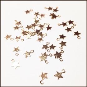 再販◆40個 カン付 星チャーム 金