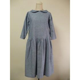 綿麻混素材丸衿7分丈袖のワンピース Mサイズ 薄い水色 リバティタナローンナンシーアン 受注生産