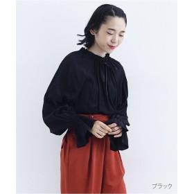 メルロー シャーリングフレアスリーブブラウス レディース ブラック FREE 【merlot】