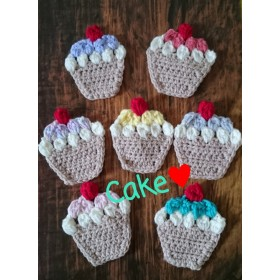 cute 手編みのカップケーキコースター