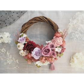 Romantic Rose*受注制作*タッセル*ハーフムーンリース*プリザーブドフラワー*春リース*お花*ギフト*結婚祝い*冬*春*お祝い