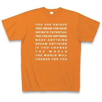 YOUARE◆アート文字◆ロゴ◆ヘビーウェイト◆半袖◆Tシャツ◆オレンジ◆各サイズ選択可