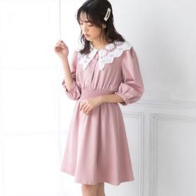 ユメテンボウ 夢展望 レース襟ワンピース (ピンク)