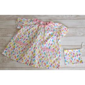 【サイズ110】 しずく柄の半袖園児スモック (ミニ巾着つき)