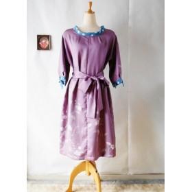 着物リメイク ワンピース 薄紫付け下げ