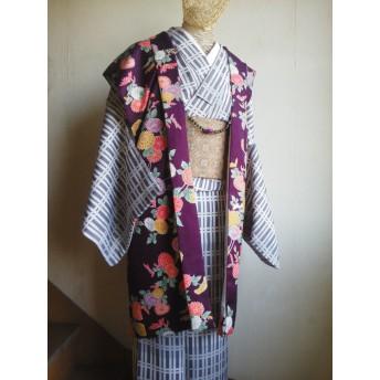 送料無料★ロング袖なし羽織★和洋兼用型ベスト★着物リメイク★フリーサイズ