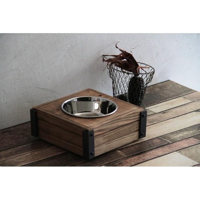 木箱コンテナ型 男前ペットフードテーブル*ペットフードトレイ ペットフードボウル