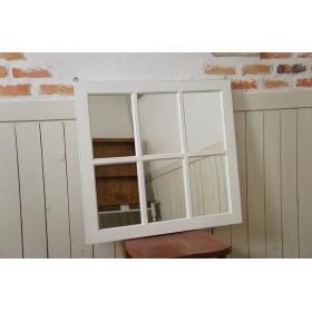アンティーク調 木製窓枠 鏡 壁掛けミラー シャビー ホワイト 白 6枠