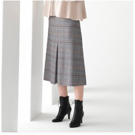 【Junior online shop:スカート】イタリア製ストレッチチェック センタープリーツスカート