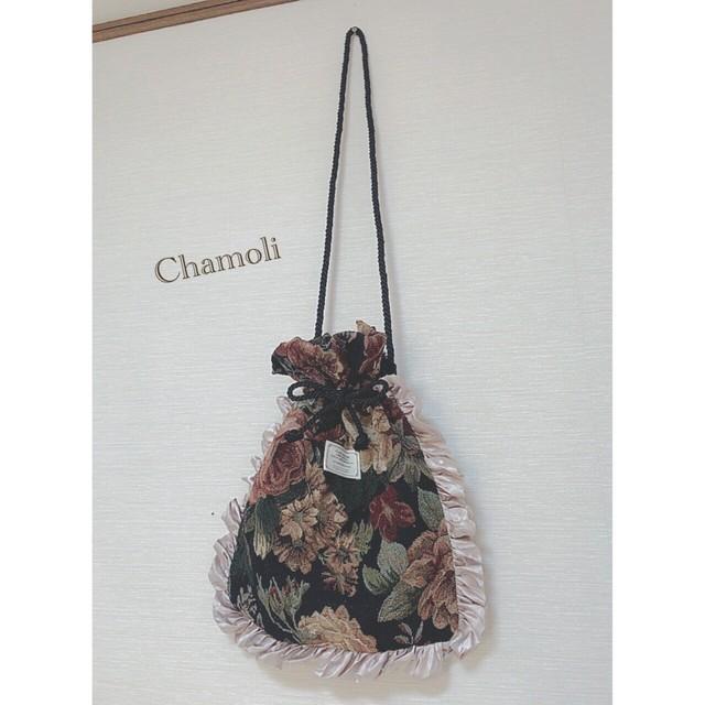 ゴブラン織りの巾着バッグ