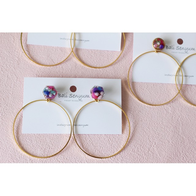 Frame & Hoop No.3 2017〜Rainbow Color shell ピアスorイヤリング