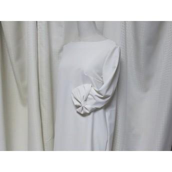 袖リボンが可愛い清楚なAラインワンピースフォーマルにも