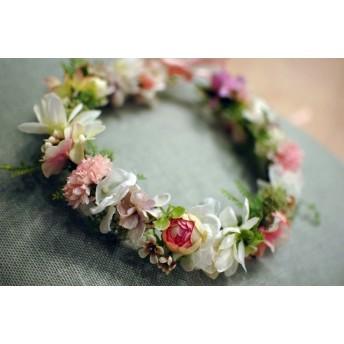 1019mfさまorder:flower crown for girl ベビーピンクの花かんむり