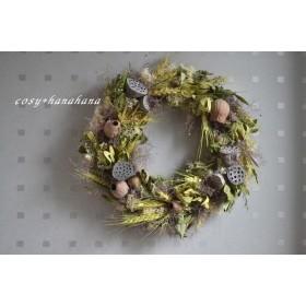 夏の小麦とハスの実wreath