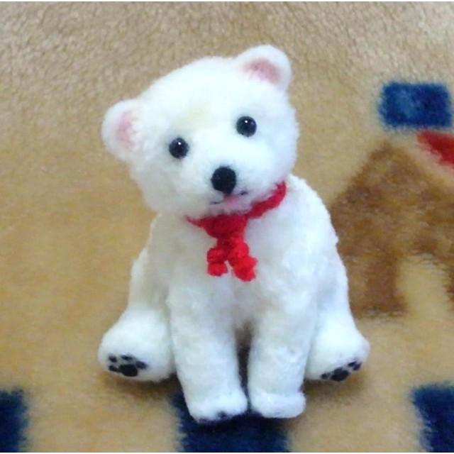 動物ポンポン おすわり犬(白)