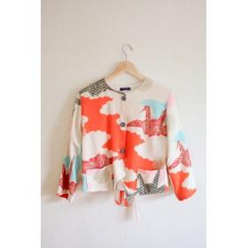 折り鶴文様Colourful Short Kimono Jacket (no.333)
