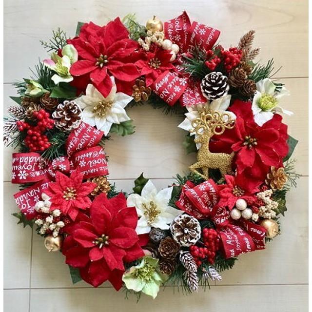 No. xmas-14314/★大型クリスマスリース40cm・アートフラワー造花リース★/トナカイ&ポインセチア(2)