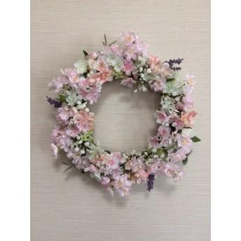 No. wreath-14534/★ギフト/花/玄関リース★/アートフラワー/桜の春リース/40cm
