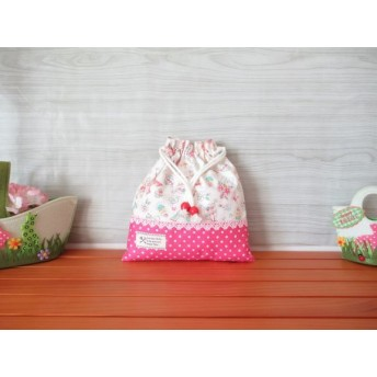 《再販》給食袋 巾着袋 巾着 パリ エッフェル塔 シャンゼリゼ かわいい 女の子(ピンクドット)