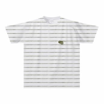 ナマケモノのボーダーTシャツ(大人〜子供サイズ)【全面プリント】