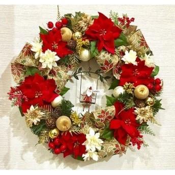 No. xmas-14301/★大型クリスマスリース40cm・アートフラワー造花リース★/ブランコ・サンタ&ポインセチア