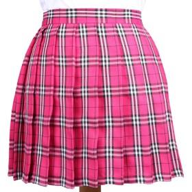 Phoenix's Shop プリーツスカート ミニ 丈40cm レディース 女の子 カワイイ フリフリ 制服スカート ゆらゆら 無地 快適 カジュアル きれい オフィス 学生 ハイウエスト 美脚 (S, ローズレッド(チェック柄))