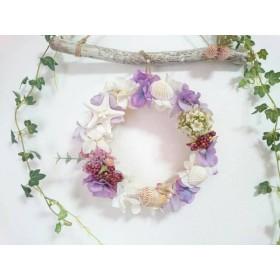 紫陽花と貝殻リース
