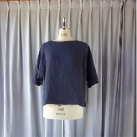 首元が苦しくないボートネックシャツ:濃紺(LL)