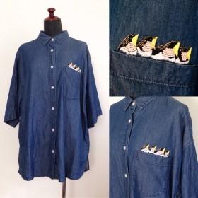 つばめのヒナのビーズ刺繍シャツ(ST-001)