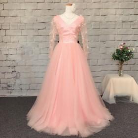 レース花トップス、リボンあり、ピンクドレス、ハンドメイドウェディングドレス