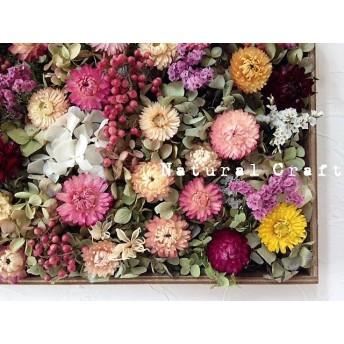 お花の絵画*ドライフラワー*コラージュボード2017p