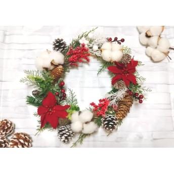 【送料無料】クリスマスリース★赤い実★松ぼっくり★ポインセチア