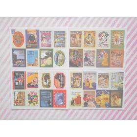 アンティーク柄 切手シールA 8枚×4シート (計32枚)