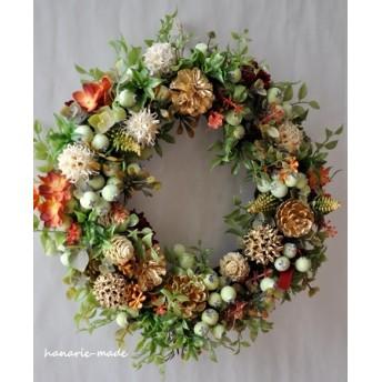 orange hydrangea & nuts wreath
