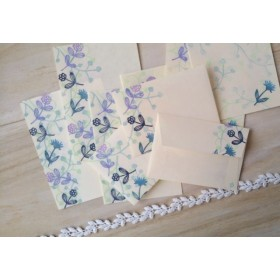 消しゴム版画「和紙の小さな封筒と便せんのセット(ワイヤープランツと小さな花・ピンク)」
