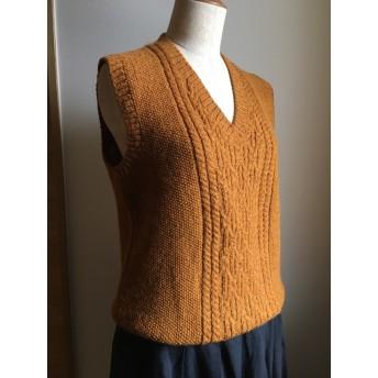 毛100%アラン模様編みベスト