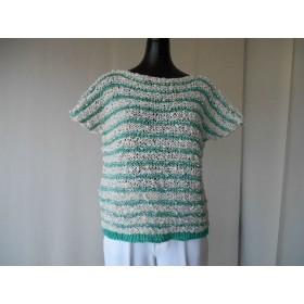 グリーン系フレンチ袖ボーダーセーター