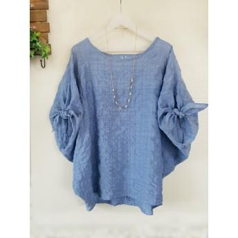 フリーサイズ:袖リボンプルオーバー( ブルー)