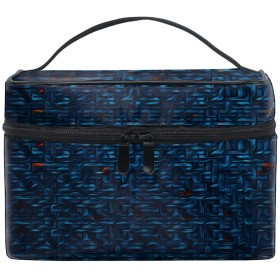 赤青テクスチャトイレタリーバッグ 収納ケース メイク収納 小物入れ 仕分け収納 防水 大容量 出張 旅行用