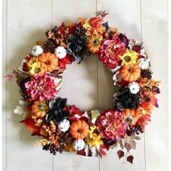 No. wreath-15099/★ ハロウィンリース/秋のリース/ダリア&パンプキン 19-(29) 45x45cm・アートフラワー/造花リース