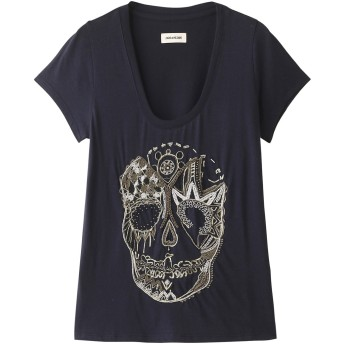 SALE 【50%OFF】 ZADIG & VOLTAIRE ザディグ エ ヴォルテール TINY SKULL CANNETILLE T-SHIRT Tシャツ ダークネイビー