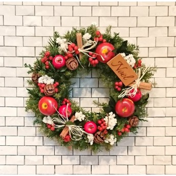《感謝価格》Happy christmas wreath(20cm)