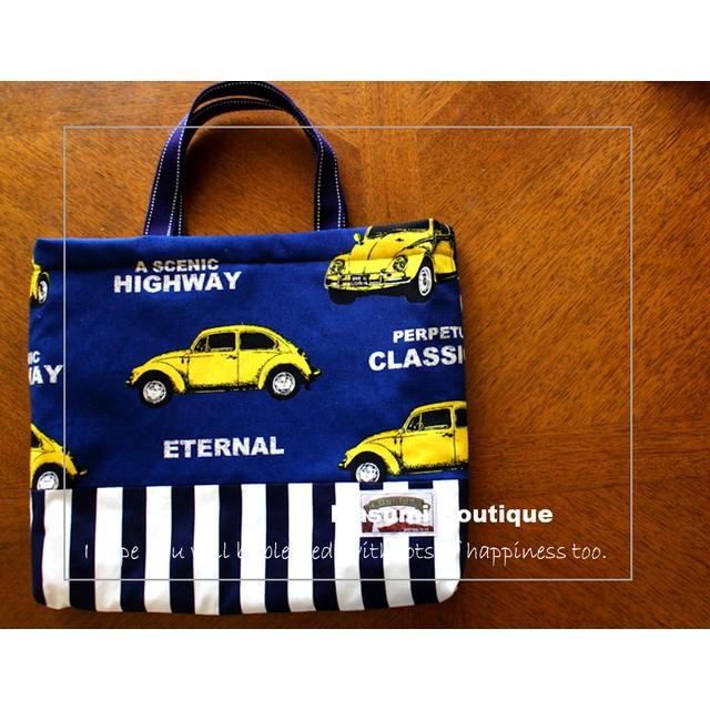 レッスンバッグ 入園入学バッグ 黒ボーダー かっこいい黄色の車