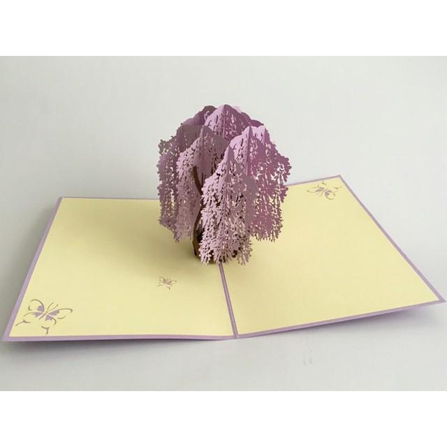 手作り切り紙ポップアップカード 紫藤花