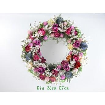 モスリースに沢山のバラと秋色紫陽花と小花達