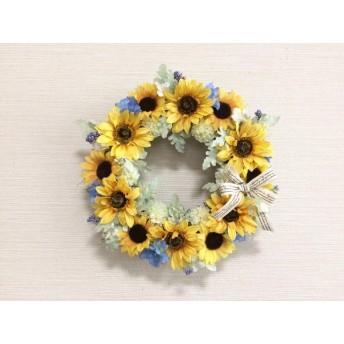 No. wreath-14582/★ギフト/花/玄関リース★/アートフラワー/ひまわりのリース(12)/30cm