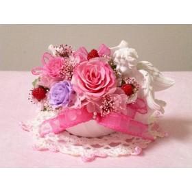 エンジェル・リーフ♪プリザーブドフラワー♪ピンク♪天使♪ウェディング♪ジューンブライド♪お誕生日♪プレゼント♪