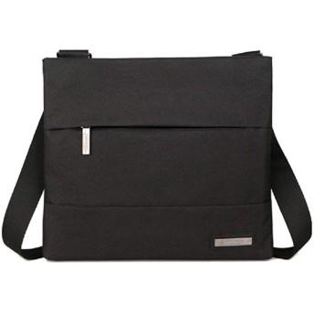 [rakulife] ショルダー バッグ メンズ 鞄 カジュアル 無地 肩掛け 斜めがけ 大容量 軽量 通学 通勤 (ブラック) 帆布 超軽量 ポケット スクエア シンプル 小さい ビジネスバッグ b5サイズ 防水 黒 くろ